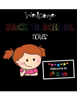 Welcome to 5th Grade Back to School Night Cards