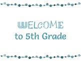 FREEBIE! Welcome to 5th Grade Colored Posters