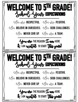 Welcome to 5th Grade Student Cards