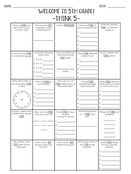 Back to School Worksheets - Welcome to 5th Grade! -Think 5-
