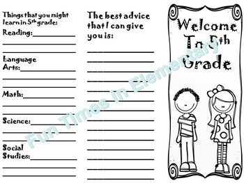 Welcome to 5th grade End of the Year Activity