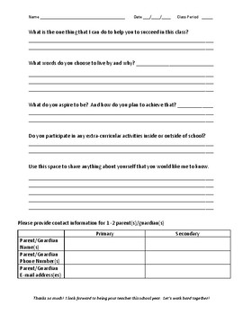 Welcome to 5th grade student survey (6 periods schedule)
