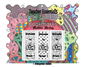 Welcome to 6th Grade Bookmarks- hand drawn DOODLES!