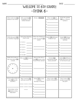 Back to School Worksheets - Welcome to 6th Grade! -Think 6-