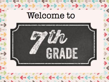 Welcome to 7th Grade Door Sign