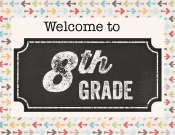 Welcome to 8th Grade Door Sign