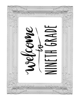 Welcome to 9th Ninth Grade Sign or Poster w Frame Farmhouse & Rae Dunn Style