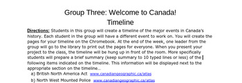 Welcome to Canada! Timeline group project