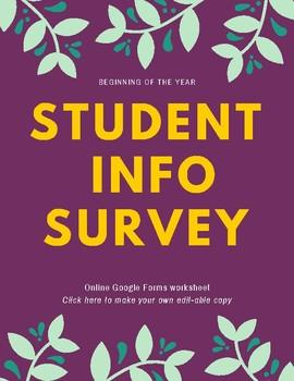 Student Interest Survey | Digital - Google Form | Back To School Survey