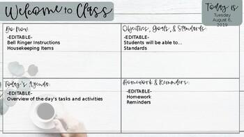 Welcome to Class Agenda Slide--Eucalyptus Theme