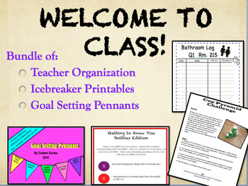 Welcome to Class!  Secondary Grades Organization & Ice Breakers Bundle