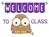Welcome to Class owl theme poster