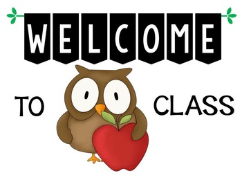 Welcome to Class owl theme posters (17 color choices/2 owls)