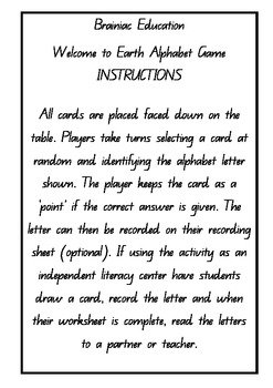 Welcome to Earth Alphabet Game