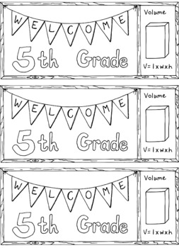 Welcome to Fifth Grade Bookmark Back to School Bulletin Board Coloring Page