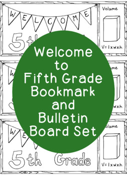 Welcome to Fifth Grade Bookmark Back to School Printable C