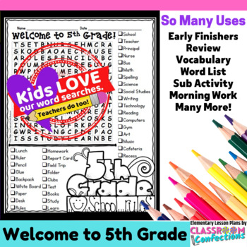 Welcome to Fifth Grade Word Search Activity