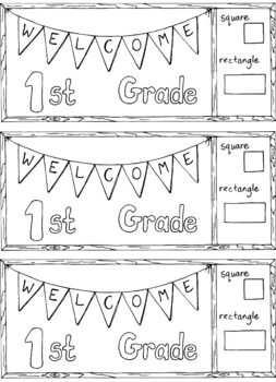 Welcome to First Grade Back to School Bookmark Bulletin Board Coloring Page