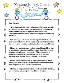 Welcome to First Grade Parent Newsletter
