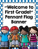 """Back to School Banner- """"Welcome to First Grade!""""- Polka Dots and Chalkboard"""