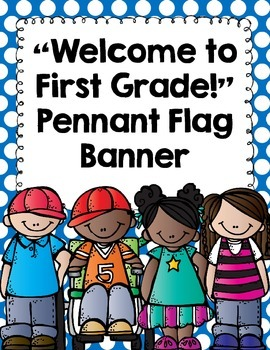 "Back to School Banner- ""Welcome to First Grade!""- Polka Dots and Chalkboard"