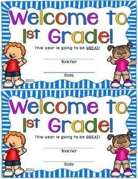 Welcome to First Grade certificate - Back to School