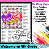 Welcome to Fourth Grade Word Search Activity