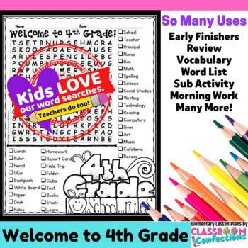 Welcome To Fourth Grade Word Search Activity By Elementary