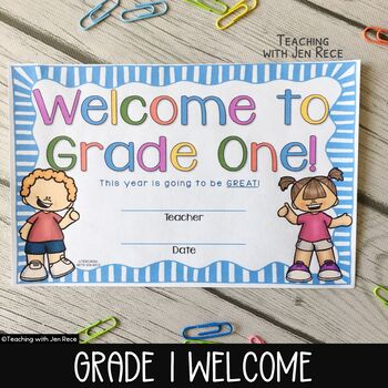 Welcome to Grade One Certificate - Back to School Keepsake