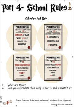 Welcome to Hogwarts - Worksheets Part 1