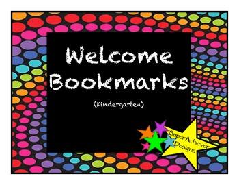 Welcome to Kindergarten Bookmarks