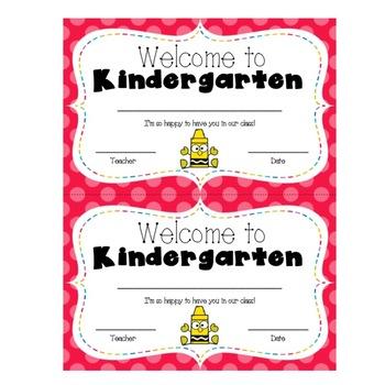 Welcome to Kindergarten Certificate