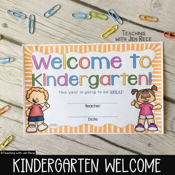 Welcome To Kindergarten Back To School By Teaching With Jen Rece