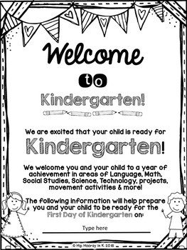 Welcome to Kindergarten Editable Information Packet for Parents ENGLISH