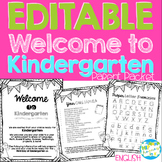 Welcome to Kindergarten Editable Information Packet for Pa