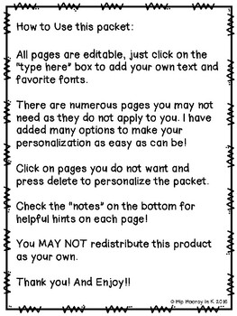 Welcome to Kindergarten Editable Parent Packet BUNDLE (English, Spanish, and TK)
