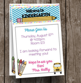 Welcome to Kindergarten Invitation - Newsletter - Announcement - EDITABLE