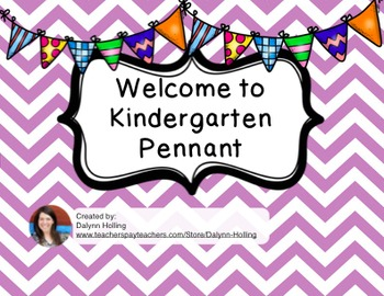 Welcome to Kindergarten Pennant- Purple Chevron