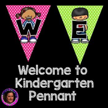 Welcome to Kindergarten Pennant Sign Rainbow Polka Dot Kid Theme