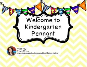 Welcome to Kindergarten Pennant- Yellow Chevron