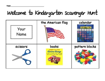 Welcome to Kindergarten Scavenger Hunt