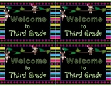 Welcome to Kindergarten-Sixth Grade Postcards Sock Monkey Theme