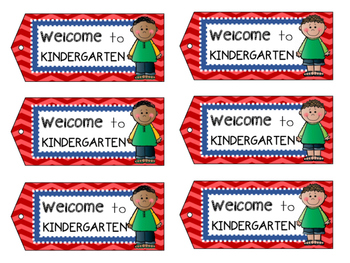 Welcome to Kindergarten - Welcome Tags  - Treat Bag Tags