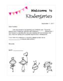 Welcome to Kindergarten newsletter