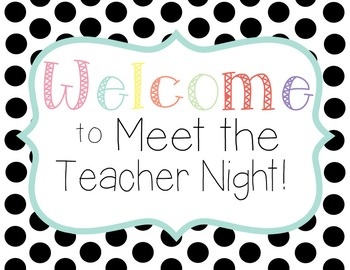 'Welcome to Meet the Teacher Night' Sign FREEBIE