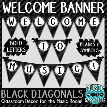Welcome to Music! Black Diagonals Pennant Banner