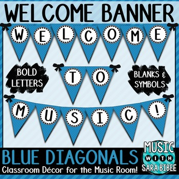Welcome to Music! Blue Diagonals Pennant Banner