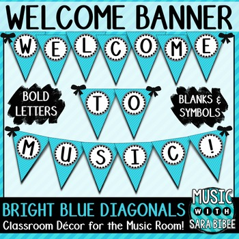 Welcome to Music! Bright Blue Diagonals Pennant Banner