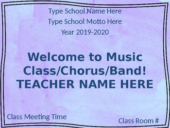 Welcome to Music Class: Back to School Classroom Management Powerpoint