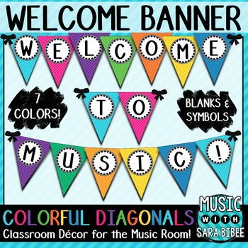 Welcome to Music! Colorful Diagonals Pennant Banner